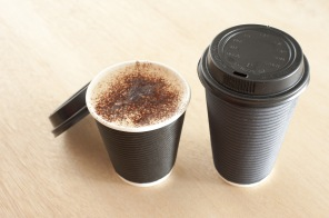 Cups of Coffee in Take Out Cups with Lids